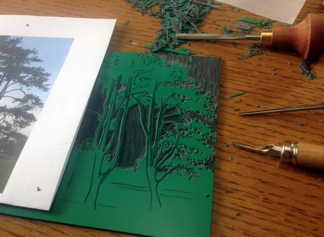Cutting the next 'Waddesdon Tree' print