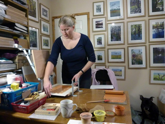 Alexandra Buckle in her studio