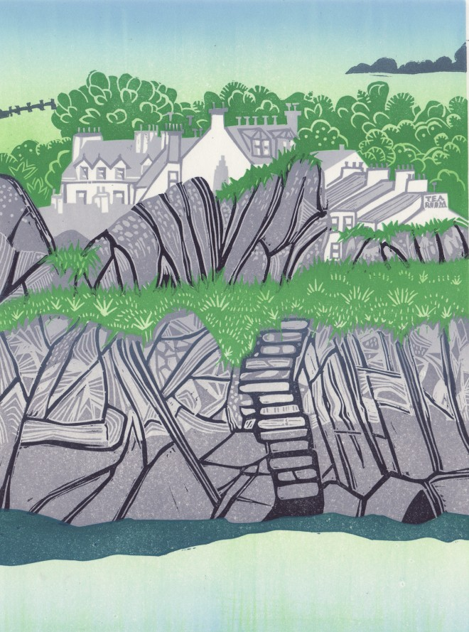 Alison Deegan: 'Portpatrick Harbour', Dumfries and Galloway. A reduction lino print from two plates.