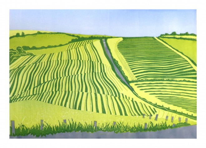 Alison Deegan: 'Cutting Ley on the Rhins', a reduction lino print from two plates