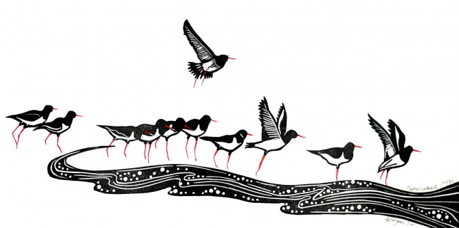 Alison Deegan: 'Oystercatchers', Lino print and drawing inks.