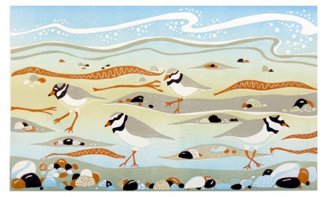 Alison Deegan: 'Plovers' – Ringed plovers skipping along the tideline at New England Bay, Dumfries and Galloway. A reduction lino print from two plates.