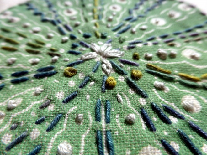 Alison Deegan: 'Sea Urchin' printed and calico and embellished with hand embroidery.