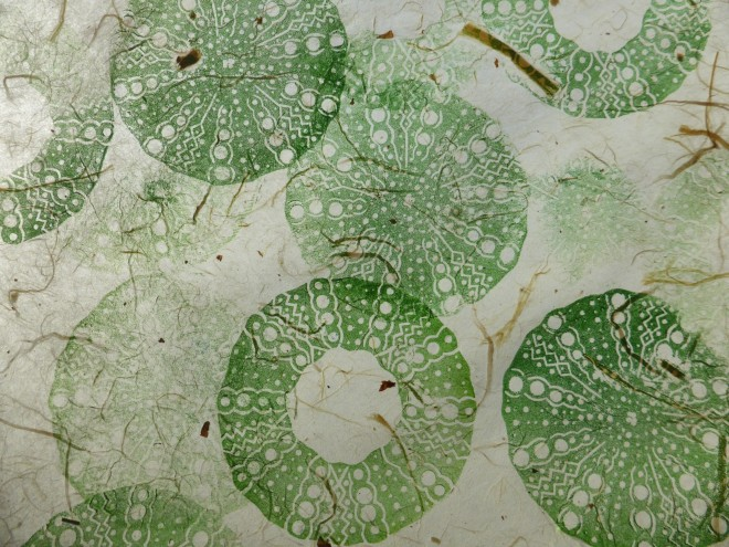 Alison Deegan: 'Sea Urchins' printed on a fine Korean tissue with plant inclusions and lit from behind