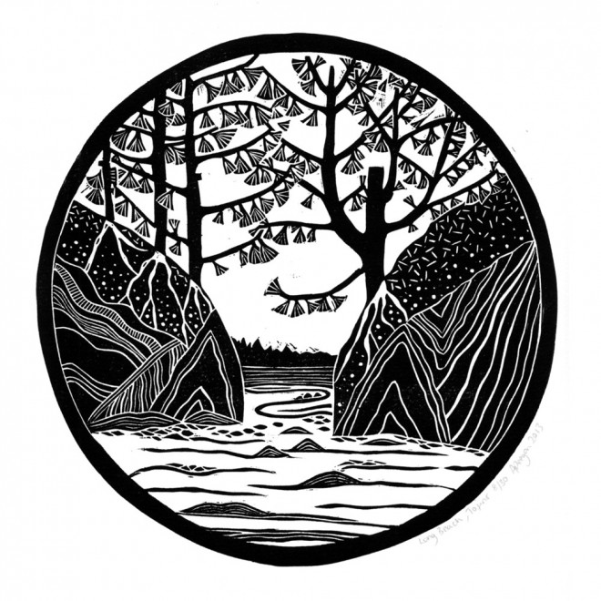 Alison Deegan: 'Tofino', A simple monochrome lino print of the Long Beach landscape at Tofino, Vancouver Island