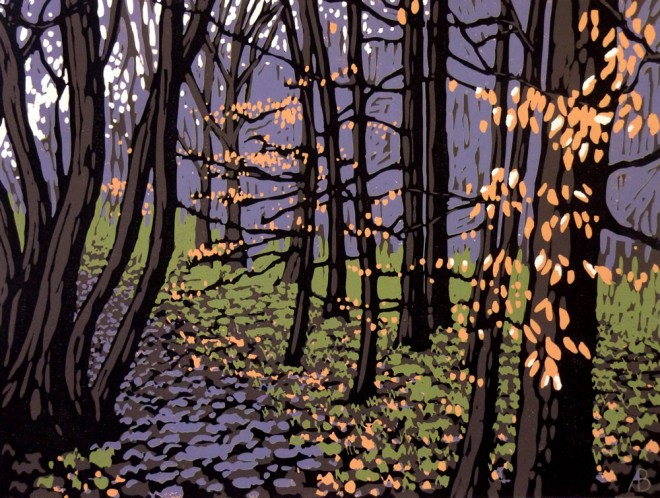 Alexandra Buckle: 'Beech Leaves in Winter', reduction linocut