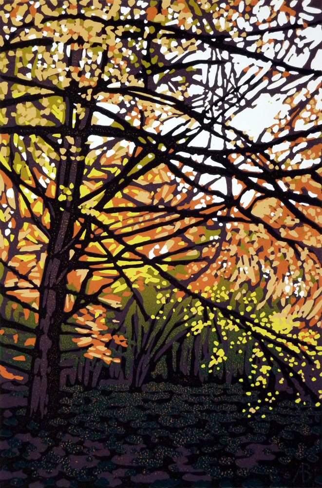 Alexandra Buckle: 'Golden Leaves', reduction linocut