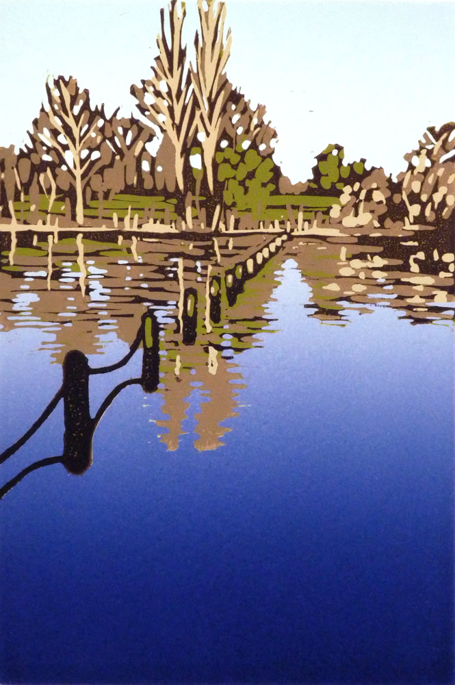 Alexandra Buckle: 'Hyde Park Reflections', reduction linocut