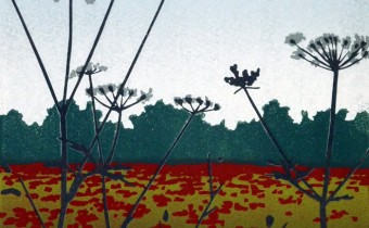 Alexandra Buckle: 'Poppies and Tall Parsley', reduction linocut