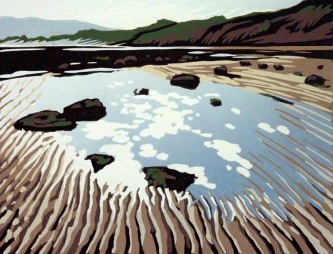 Alexandra Buckle: 'Tides Out Again (Robin Hoods Bay)', reduction linocut