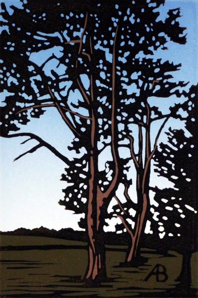 Alexandra Buckle: 'Waddesdon Trees', reduction linocut