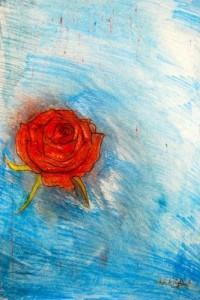 Red Rose Roberto Pagliarulo 16.5'' x 12''  pastel