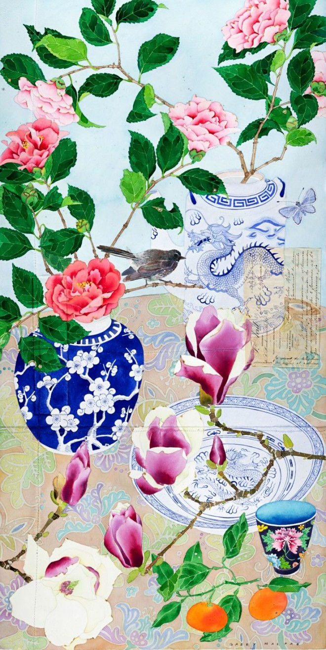'Sydney winter flowers' by Gabby Malpas Watercolour, collage and pencil on Arches paper Approx 60cm x 110cm (c) Digital Masters Australasia