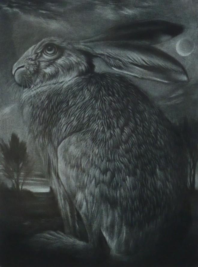 Clive Riggs: 'Hare In A Moonlit Landscape', mezzotint
