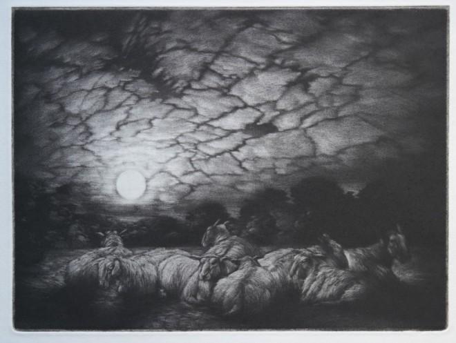 Clive Riggs: 'Pastoral Nocturne', mezzotint