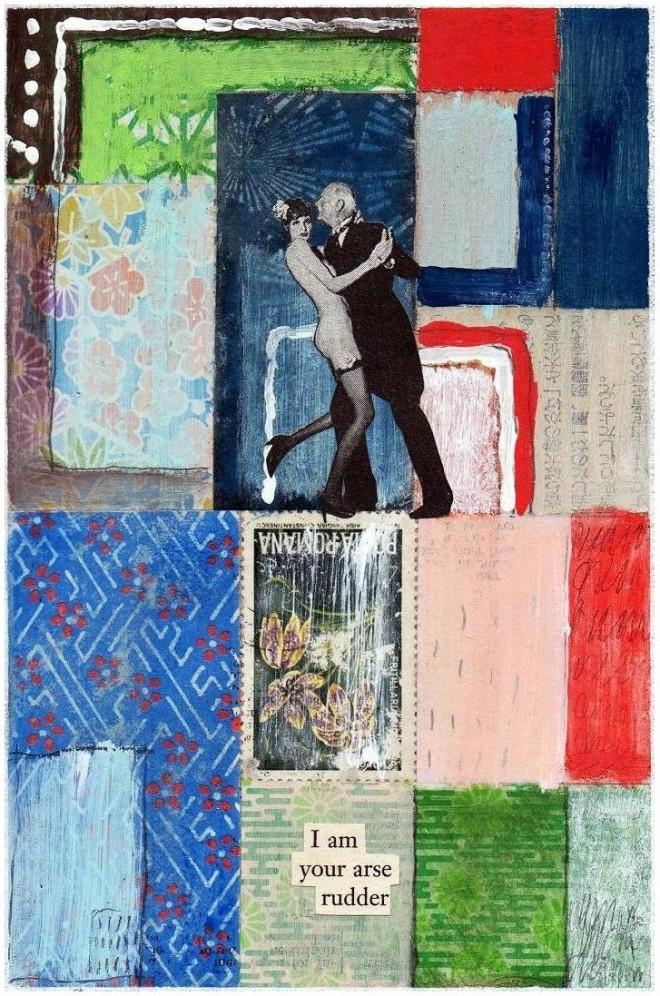 Simon Kirk: 'Arse Rudder', Collage, 10cmx 15cm