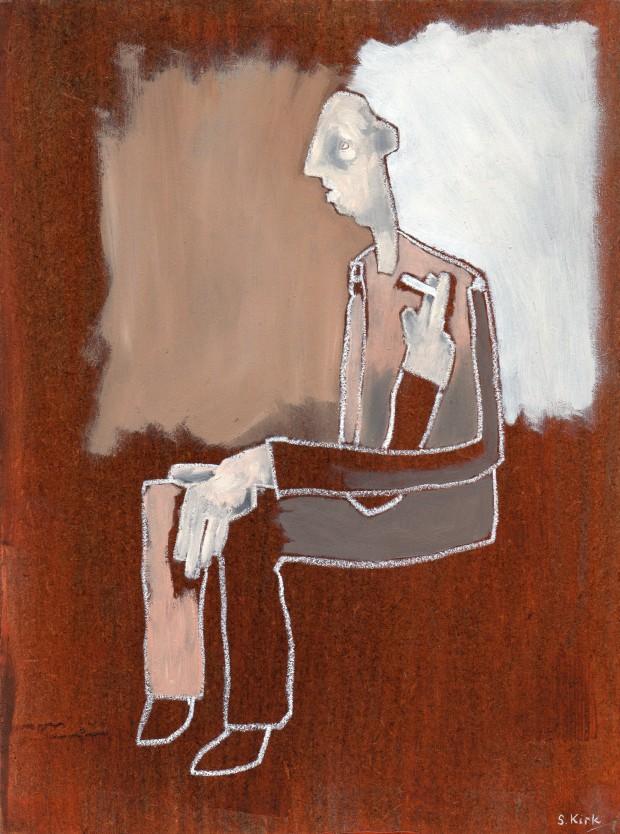 Simon Kirk: 'Den', Oil on Board, 18 x 24cms, 2014
