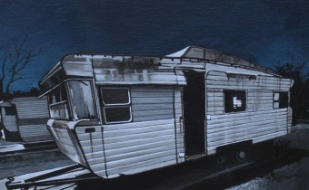 Deborah Batt: 'The Caravan', acrylic & pen on canvas, 12x12x2 in