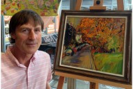 Vincent Milne with his painting Christchurch Hill