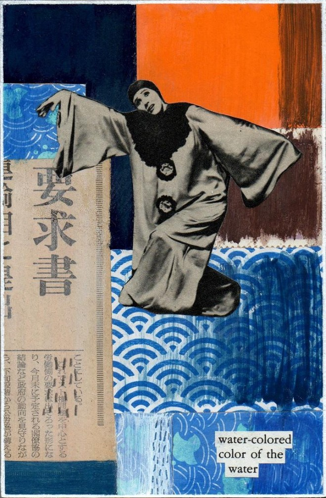 Simon Kirk: 'Water', Collage and Mixed Media, 10cm x 15cm