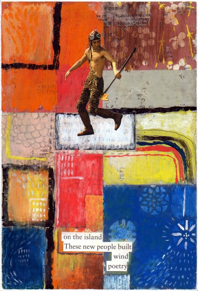 Simon Kirk: 'Wind Poetry', Collage and Mixed Media, 10cm x 15cm