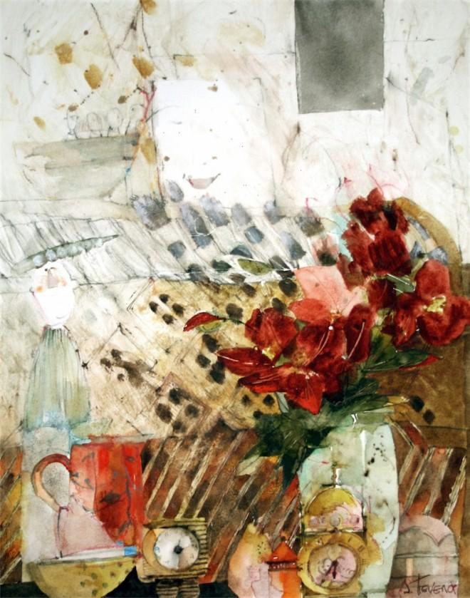 Shirley Trevena: 'Two Clocks and a Pea Pod Man' (2006), watercolour and graphite pencil, 48cm x 38cm