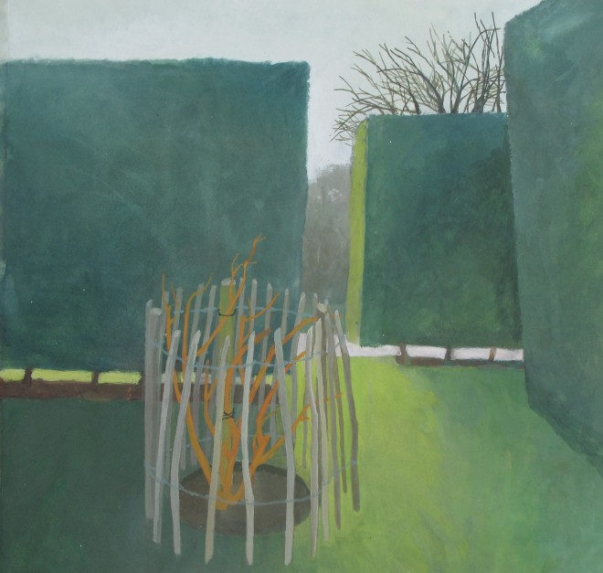 Wendy Jacob: 'February, Hedges, Hyde Hall', gouache