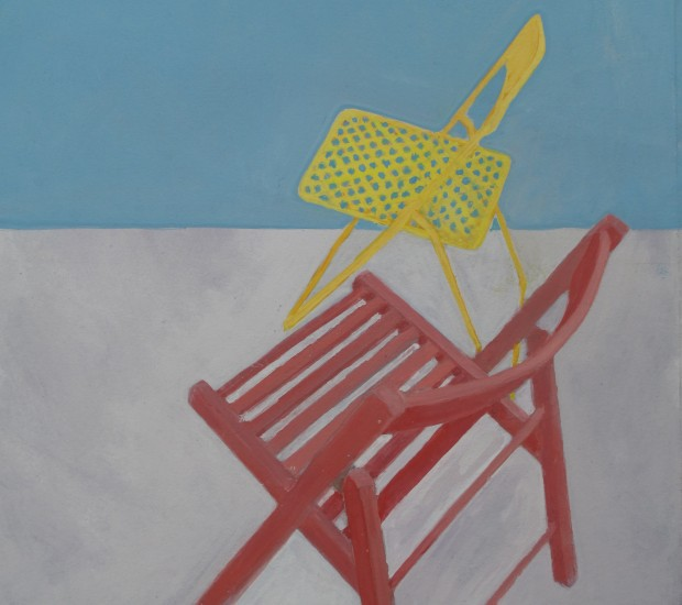 Wendy Jacob: 'Red and Yellow Stacking Chairs', gouache