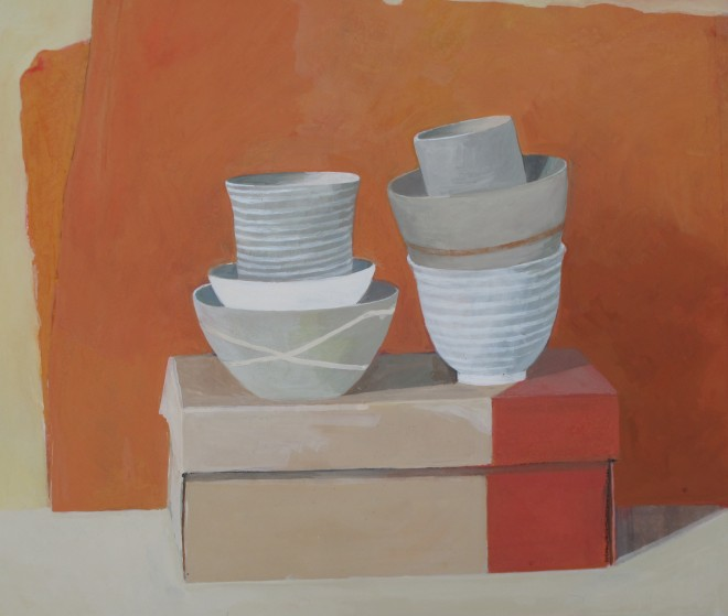 Wendy Jacob: 'Six Stacked Pots On A Shoebox', gouache