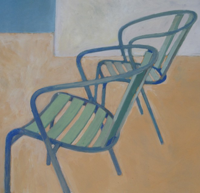 Wendy Jacob: 'Stacking Chairs', gouache