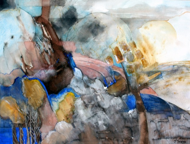 Shirley Trevena: 'Frosty Morning at Rauffet' (2007), watercolour and oil pastel, 49cm x 63cm