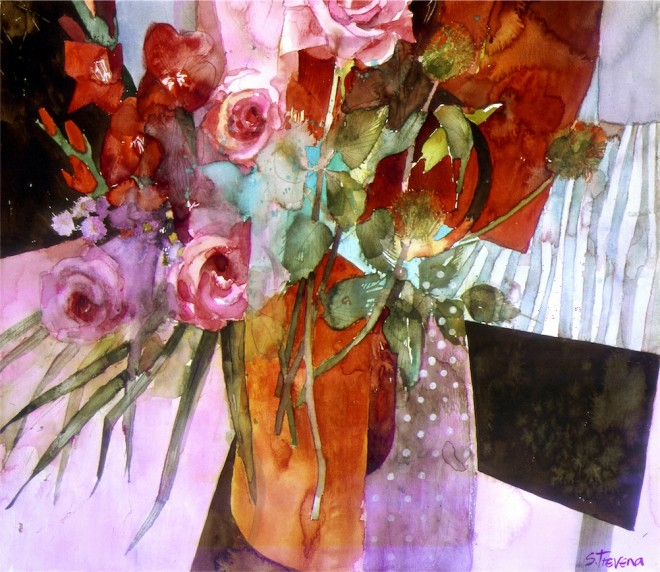 Shirley Trevena: 'Red Flowers on a Black Table' (1998), watercolour, 48cm x 53cm