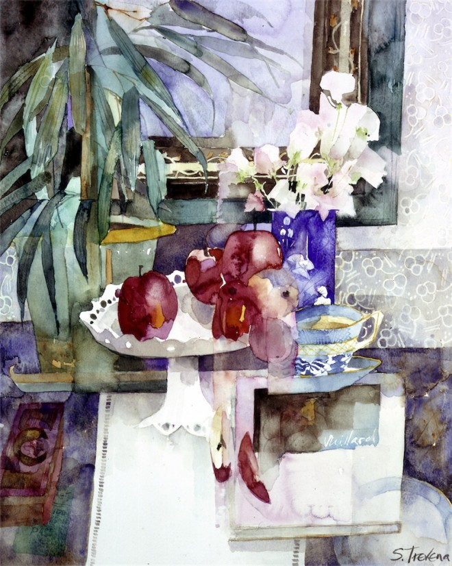 Shirley Trevena: 'Sweet Peas and Red Apples' (1993), watercolours, 48cm x 38cm