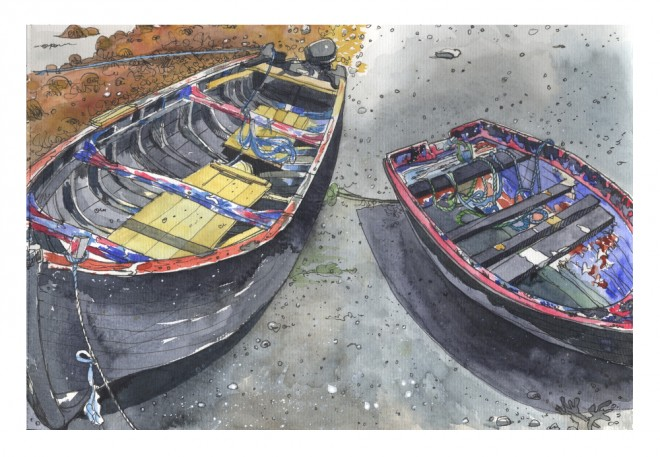 Róisín Curé: 'At Killeenaran', fountain pen and Schmincke watercolour