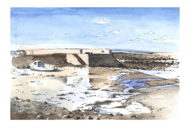 Róisín Curé: 'Killeenaran In April', brush pen and ink, fountain pen (platinum carbon pen) and watercolour (Schmincke)