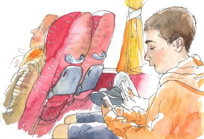 Róisín Curé: 'On The Bus', brush pen and ink, fountain pen (platinum carbon pen) and watercolour (Schmincke)