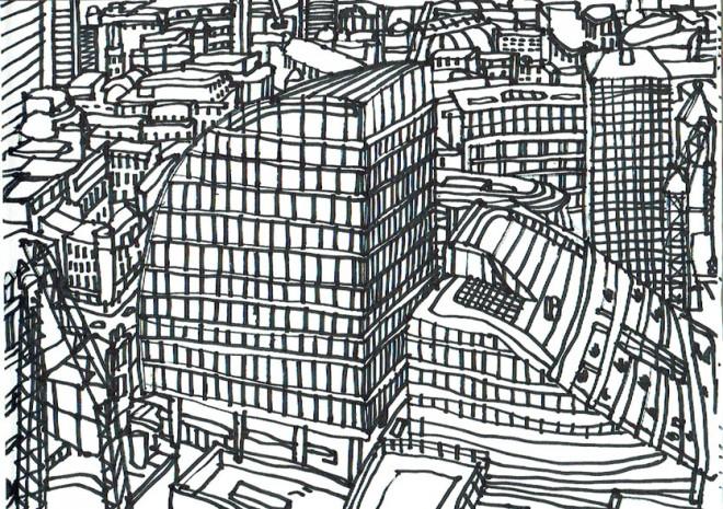 James Hobbs: 'Moorgate, From storey 32', marker pen