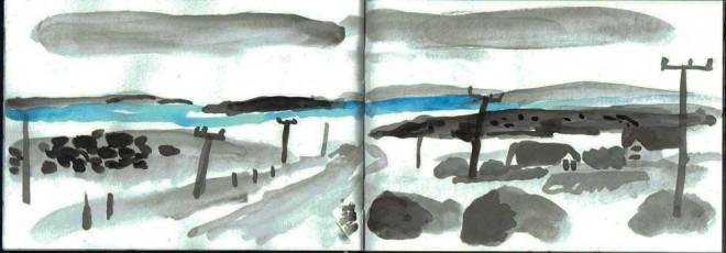 James Hobbs: 'Gurteen Beach, Connemara', inks