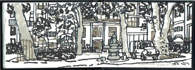James Hobbs: 'Hoxton Square', black and grey marker pens