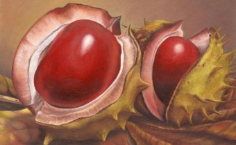 Sue Scrowcroft's Competition Winning Painting of Autumnal Conkers
