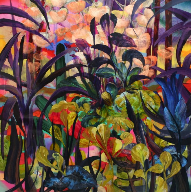 Orlanda Broom: 'Crossed Lines', acrylic and resin, 100x100cm, 2015