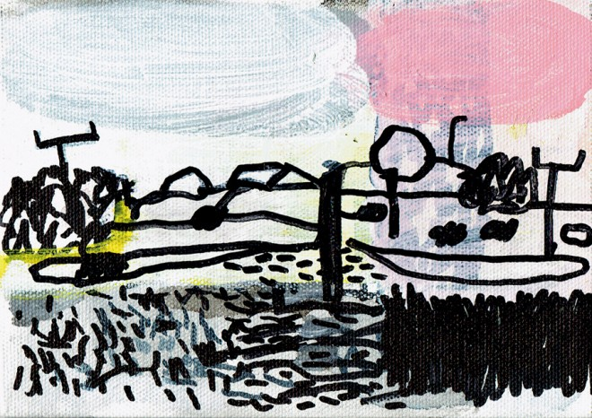 James Hobbs: 'View from a Train', marker pen and acrylic on canvas