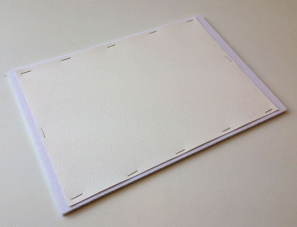 Gator foam Board stretching watercolour paper with staples