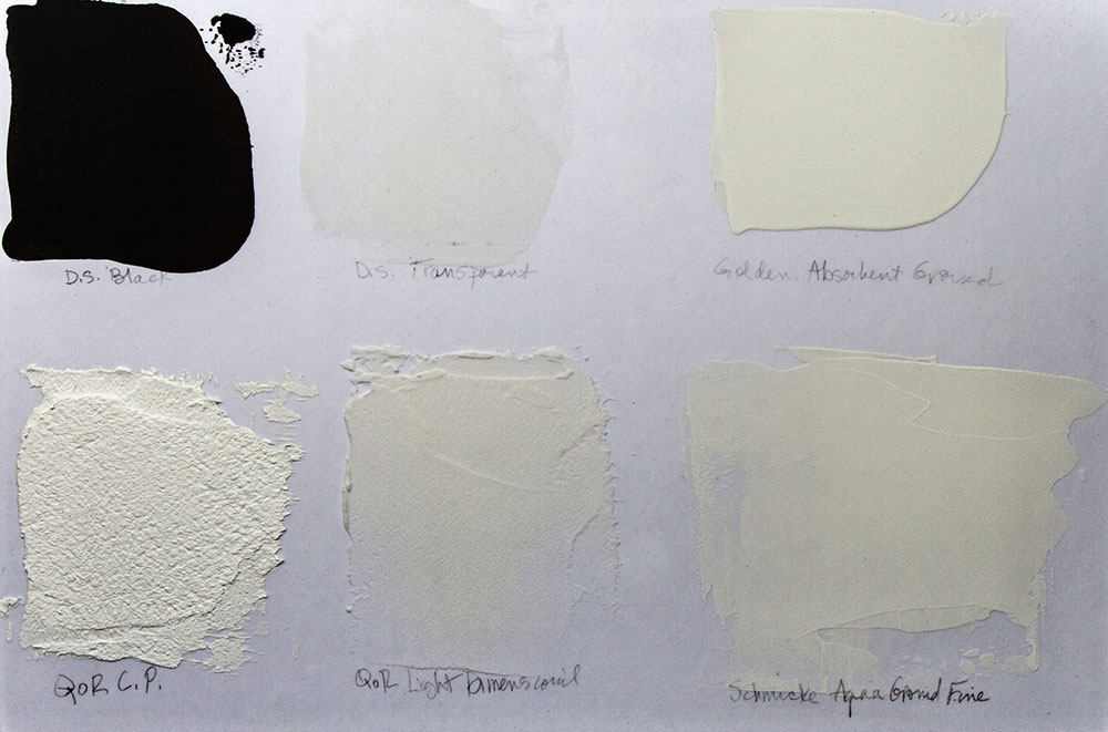 A variety of watercolour grounds can be applied to the Gatorfoam surface