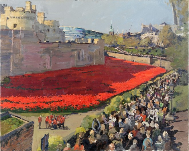 Peter Brown: 'Poppies at the Tower 2', oil on canvas, 20 x 25 inches, 2014