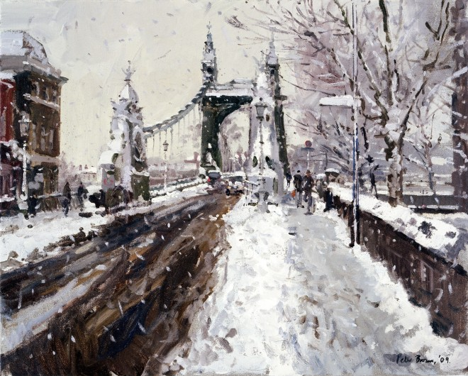 Peter Brown: 'Snow, Hammersmith Bridge, oil on canvas, 25 x 20 inches, 2009