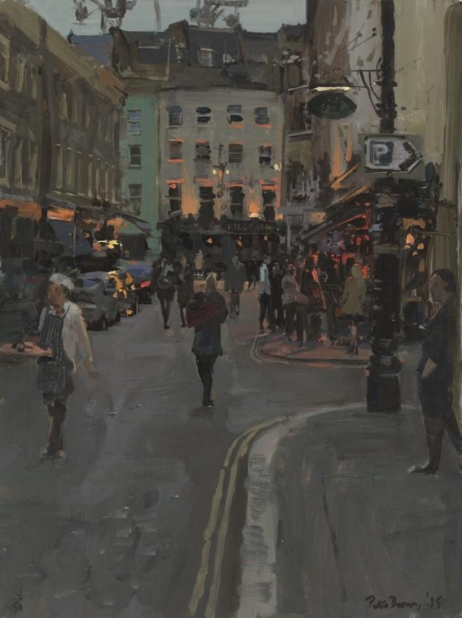 """Peter Brown: 'Early Evening, Shepherd Market', oil on board, 16"""" x 12"""", 2015"""