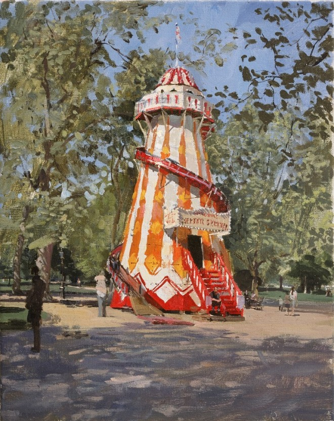 Peter Brown: 'The Helter Skelter, Hyde Park', oil on canvas, 25 x 20 inches