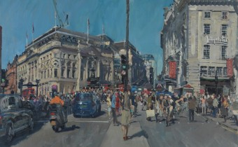 "Peter Brown: 'Summer Afternoon, Piccadilly Circus', oil on canvas, 25"" x 30"", 2015"