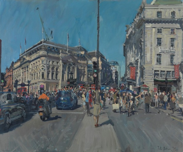 """Peter Brown: 'Summer Afternoon, Piccadilly Circus', oil on canvas, 25"""" x 30"""", 2015"""